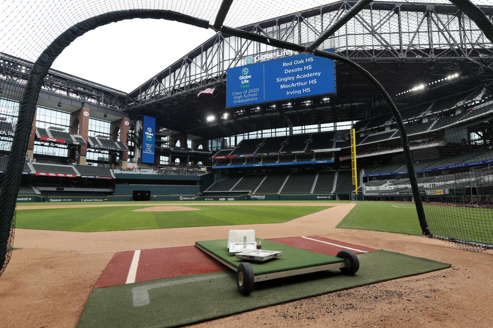 A home plate perspective gives a view of Globe Life Field, the newly-built home of the Texas Rangers, in Arlington, Texas, Wednesday, May 20, 2020. The park that was supposed to have its home opener on March 31 against the Los Angeles Angels has yet to see one game played in it this season amid the coronavirus pandemic. (AP Photo/Tony Gutierrez)