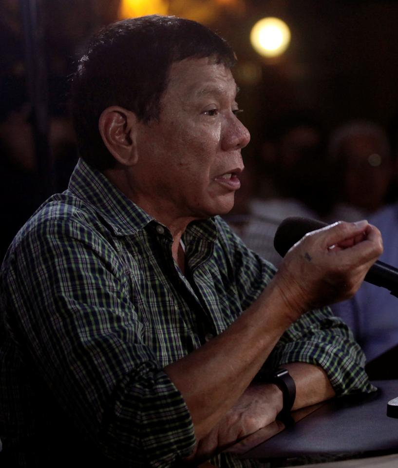 Philippines' President-elect Rodrigo Duterte answers questions during a news conference in Davao City, southern Philippines May 31, 2016. REUTERS/Lean Daval  FOR EDITORIAL USE ONLY. NO RESALES. NO ARCHIVES