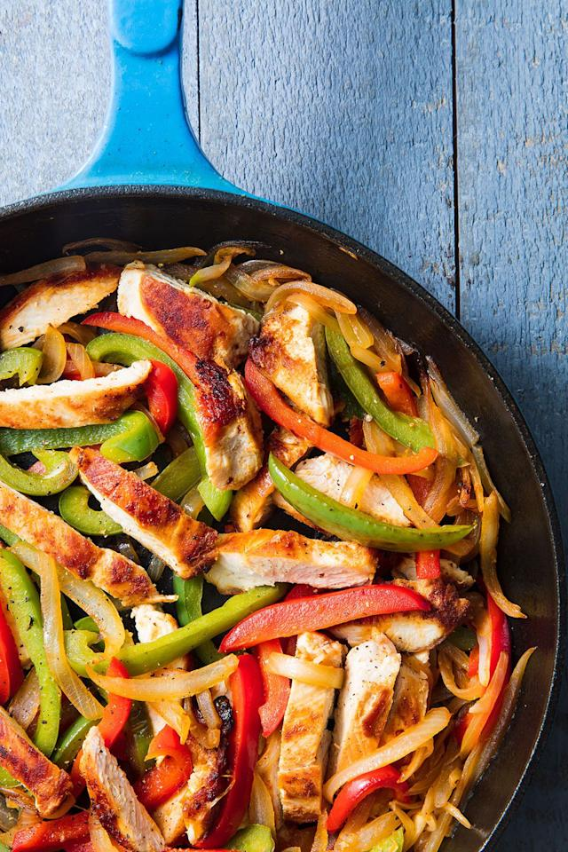 "<p>Fiesta time!</p><p>Get the recipe from <a rel=""nofollow"" href=""https://www.delish.com/cooking/recipe-ideas/a19665622/easy-chicken-fajitas-recipe/"">Delish</a>.</p><p><a rel=""nofollow"" href=""https://www.amazon.com/Creuset-Signature-Handle-Skillet-Marseille/dp/B009WQWWZ4?tag=delish_auto-append-20&ascsubtag=[artid