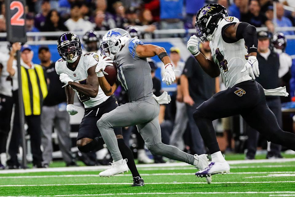 Lions wide receiver Kalif Raymond (11) runs against the Ravens during the second half of the Lions' 19-17 loss at Ford Field on Sunday, Sept. 26, 2021.