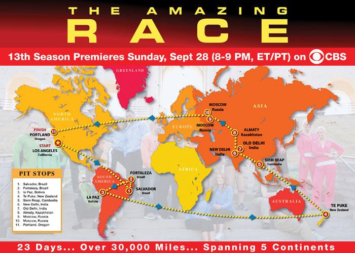 For the first time ever, the complete route of the race has been released before the season starts. Check it out and follow the teams as they fight for $1 million on CBS, Sundays at 8pm ET.