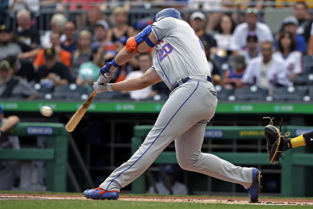 New York Mets' Pete Alonso drives in a run with a double off Pittsburgh Pirates starting pitcher Trevor Williams during the first inning of a baseball game in Pittsburgh, Friday, Aug. 2, 2019. (AP Photo/Gene J. Puskar)