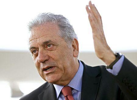 EU Migration Commissioner Dimitris Avramopoulos gestures before the meeting on global responsibility sharing through pathways for admission of Syrian refugees, at the United Nations in Geneva, Switzerland, in this March 30, 2016 file photo. REUTERS/Denis Balibouse/Files