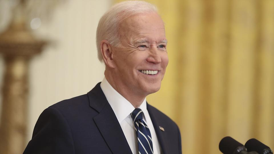 President Biden smiles during a news conference in the East Room of the White House in Wason Thursday, March 25, 2021. (Oliver Contreras/Sipa/Bloomberg via Getty Images)