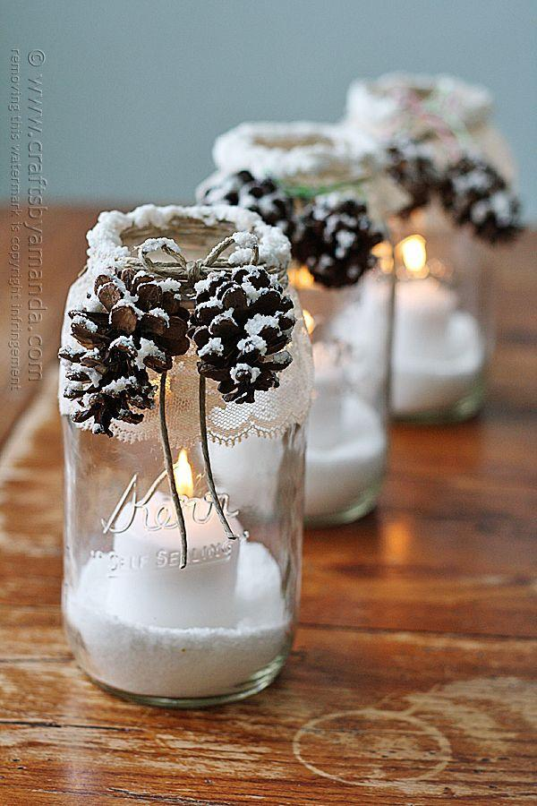 """<p>Crafter Amanda Formaro recommends lining the pathway to your front door with these elegant lace-and-<a href=""""https://www.countryliving.com/diy-crafts/how-to/g312/all-about-pinecones-1206/"""" rel=""""nofollow noopener"""" target=""""_blank"""" data-ylk=""""slk:pinecone candles"""" class=""""link rapid-noclick-resp"""">pinecone candles</a>.</p><p><strong>Get the tutorial at <a href=""""http://craftsbyamanda.com/2013/12/snowy-pinecone-candle-jars.html"""" rel=""""nofollow noopener"""" target=""""_blank"""" data-ylk=""""slk:Crafts by Amanda"""" class=""""link rapid-noclick-resp"""">Crafts by Amanda</a>.</strong> </p><p><a class=""""link rapid-noclick-resp"""" href=""""https://www.amazon.com/Eleanore-Flameless-Realistic-Flickering-Unscented/dp/B0786MMBTH/?tag=syn-yahoo-20&ascsubtag=%5Bartid%7C10050.g.2132%5Bsrc%7Cyahoo-us"""" rel=""""nofollow noopener"""" target=""""_blank"""" data-ylk=""""slk:SHOP BATTERY TEA LIGHTS"""">SHOP BATTERY TEA LIGHTS</a><br></p>"""