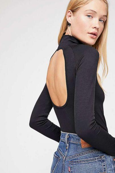 PHOTO: Skinny turtlenecks with surprising details, (like cut-outs, sheer fabrics, and smocking) help make the most of proportion contrasts. (Free People)