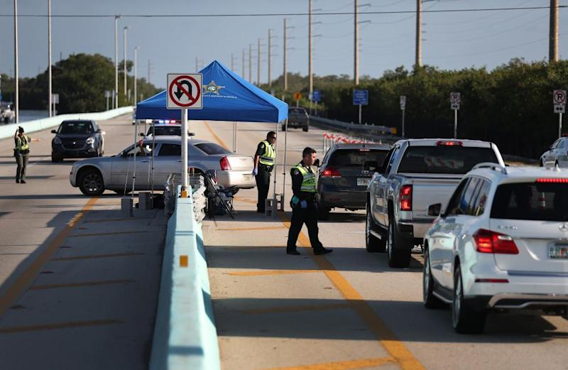 A checkpoint leading into the Florida Keys limits nonresident traffic.
