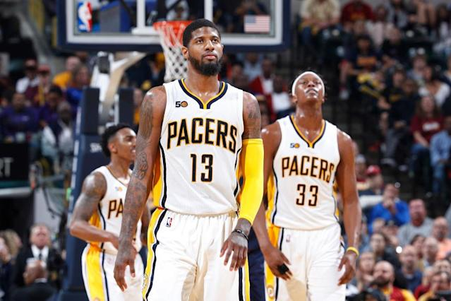 Paul George and the Pacers were swept in a seven-game series for the first time in franchise history. (Getty)