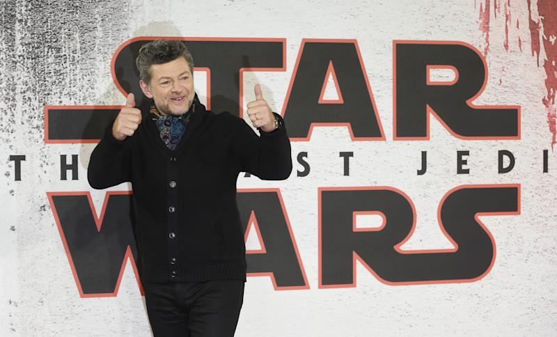 LONDON, ENGLAND - DECEMBER 13: Andy Serkis during the 'Star Wars: The Last Jedi' photocall at Corinthia Hotel London on December 13, 2017 in London, England. (Photo by Stuart C. Wilson/Getty Images)