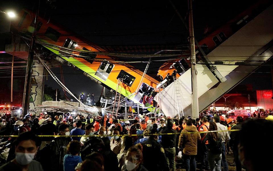 An overpass for a metro partially collapsed inn Mexico City, killing at least 15 people. Source: Reuters