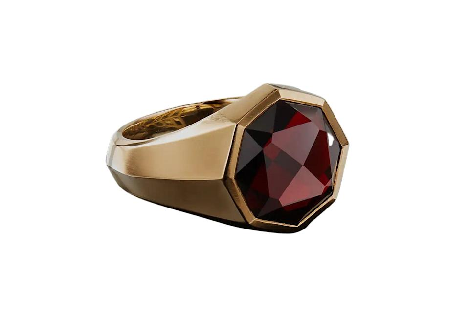 """$3300, David Yurman. <a href=""""https://www.davidyurman.com/products/mens/mens-rings/dy-fortune-faceted-signet-ring-in-18k-gold-r15588m88.pdp.html?swatchCode=R15588M88AGA"""" rel=""""nofollow noopener"""" target=""""_blank"""" data-ylk=""""slk:Get it now!"""" class=""""link rapid-noclick-resp"""">Get it now!</a>"""