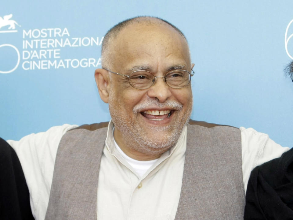"""FILE - Director Haile Gerima appears at the photo call for the film """"Teza"""" at the 65th edition of the Venice Film Festival in Venice, Italy, on Sept. 2, 2008. The 75-year-old LA Rebellion filmmaker is getting renewed attention with a restoration of his 1993 film """"Sankofa"""" and an honor from the new Academy Museum. (AP Photo/Andrew Medichini, File)"""