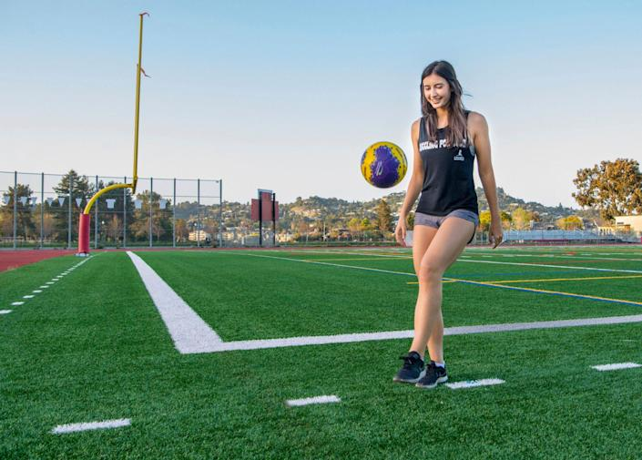 """<p>A competitive soccer player from 8 to 14, Hollis Belger knew that practicing juggling — keeping the ball aloft with controlled kicks — would improve her on-field skills. She also found a way it could save lives.</p> <p>Introduced to St. Jude Children's Research Hospital by her mother and inspired to help, the high school junior from Larkspur, California, launched Juggling for Jude in 2014 to solicit charitable sponsors for her emerging talent. </p> <p>Gradually, Belger expanded to clinics, public speaking engagements and an ALS Ice Bucket-style challenge, in which participants film themselves juggling, tag friends on social media and donate $10 to St. Jude. Last month <a href=""""https://www.stjude.org/inspire/blogs/perspectives/hollis-belger-soccer-juggling-for-st-jude.html"""" rel=""""nofollow noopener"""" target=""""_blank"""" data-ylk=""""slk:Belger topped the half-million-dollar mark"""" class=""""link rapid-noclick-resp"""">Belger topped the half-million-dollar mark</a> — and, like her record for consecutive juggles (5,350 and counting), it's a milestone she's determined to best. """"I plan on juggling until no child has to worry about pediatric cancer,"""" she says. """"There has never been a day when I wanted to give up.""""</p>"""