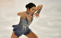 Karen Chen of the USA performs during the Ladies Short Program at the Figure Skating World Championships in Stockholm, Sweden, Wednesday, March 24, 2021. (AP Photo/Martin Meissner)