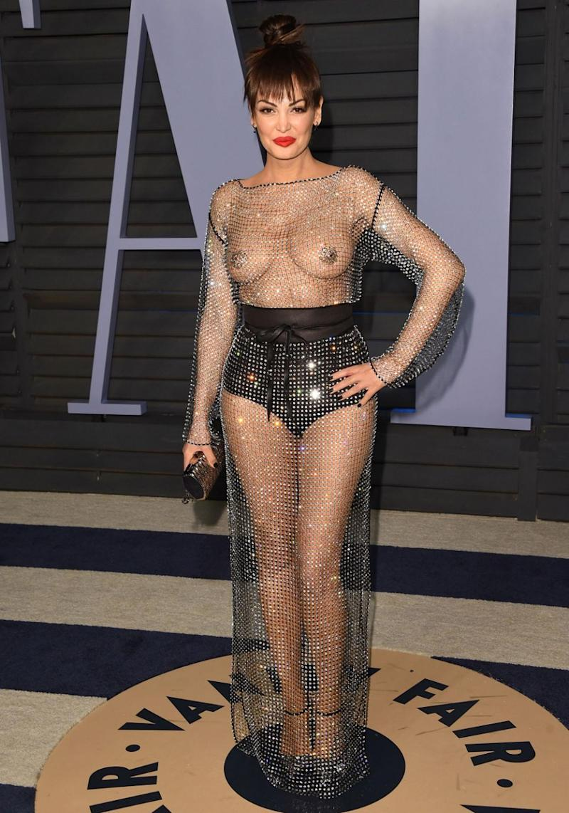 On Sunday night sheer dresses headlined the trends at the Vanity Fair Oscars bash in particular, with singer Bleona Qereti pretty much baring all in a see-through naked dress. Source: Getty