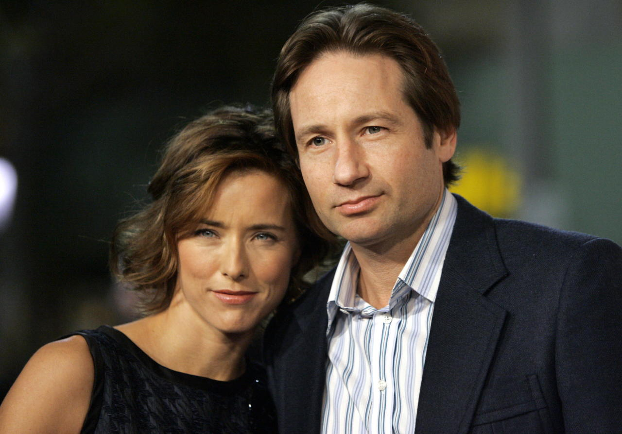 Tea Leoni and her husband David Duchovny attend the premiere of Fun with Dick and Jane in Los Angeles.