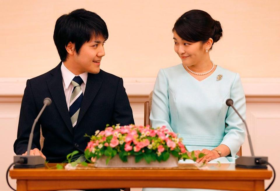 Princess Mako and Kei Komuro during a press conference to announce their engagement in September 2017 (AFP via Getty Images)
