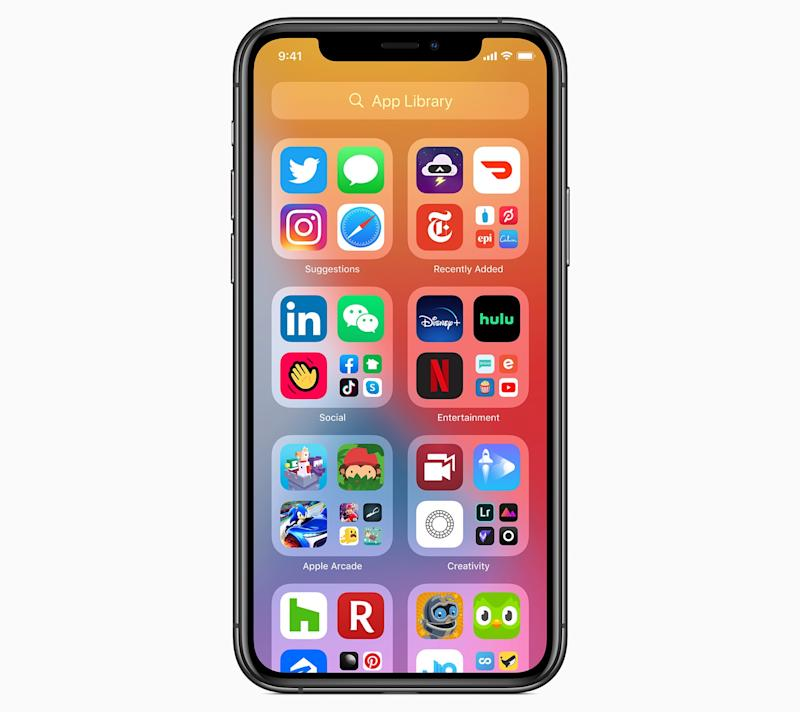 The App Library in iOS 14 will make locating infrequently used apps far easier. (Image: Apple)