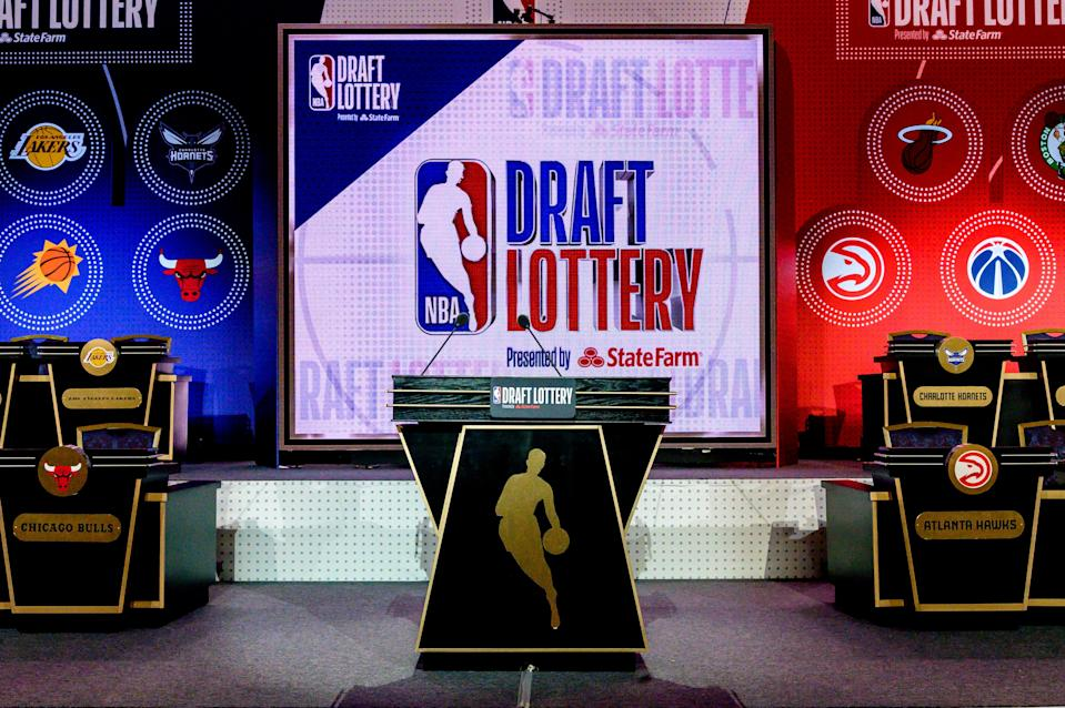 A general view of the stage prior to the 2019 NBA Draft Lottery at the Hilton Chicago.