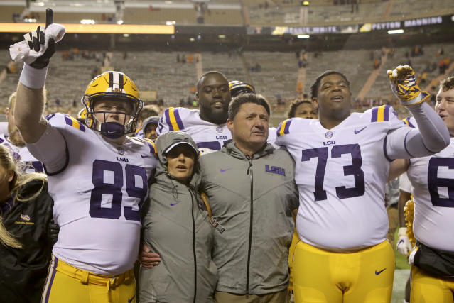 LSU can win 10 wins in its first season under Ed Orgeron with a win in the Citrus Bowl. (C.B. Schmelter/Chattanooga Times Free Press via AP)
