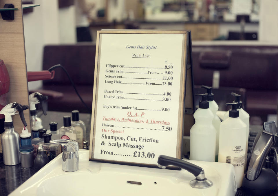 Price list in barbershop, close up (Getty Images stock)