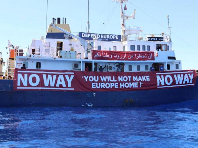 Far-right extremists aboard a vessel aiming to 'defend' Europe from migrants and refugees