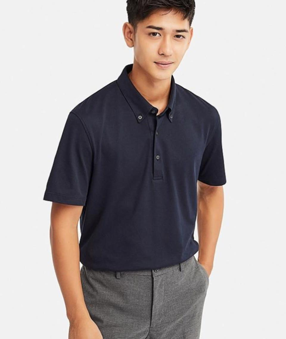 """$29.90; buy now at <a href=""""https://fave.co/2BwcXeJ"""" rel=""""nofollow noopener"""" target=""""_blank"""" data-ylk=""""slk:uniqlo.com"""" class=""""link rapid-noclick-resp"""">uniqlo.com</a> <p>As golf season rolls around, everyone needs a collection of crisp, solid-colored polos to build looks around. This year, reach for the Uniqlo Airism Short-Sleeve Polo, which is available in four tried-and-true tones: white, light blue, olive, and navy (pictured). The button-down collar adds a nice touch of detail, while the price tag certainly makes this one of the best valued polos in all of golf. It's the type of shirt best picked up in bulk.</p>"""