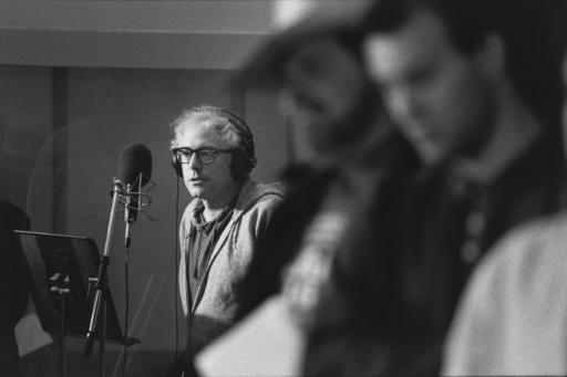 """Bernie Sanders (L) in the studio during a 1987 session of the song """"We Shall Overcome,"""" recorded with 30 Vermont musicians and singers"""