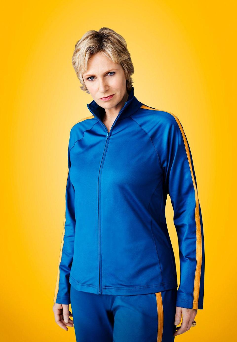 """<p>While playing <em>Glee'</em>s villain, Sue Sylvester, Jane Lynch found herself in a different tracksuit every episode. """"I have about 20 now and they are always making more. The wardrobe stylist would come up to me and ask 'What about this color tracksuit with this piping?' And I say either yes or no,"""" Lynch told <a href=""""https://www.metro.us/the-tracksuit-makes-the-woman-for-jane-lynch/"""" rel=""""nofollow noopener"""" target=""""_blank"""" data-ylk=""""slk:Metro"""" class=""""link rapid-noclick-resp"""">Metro</a> in 2010. """"We have two styles, the one with the high neck and then the crew neck with the zips and they make them fit to me.""""</p>"""