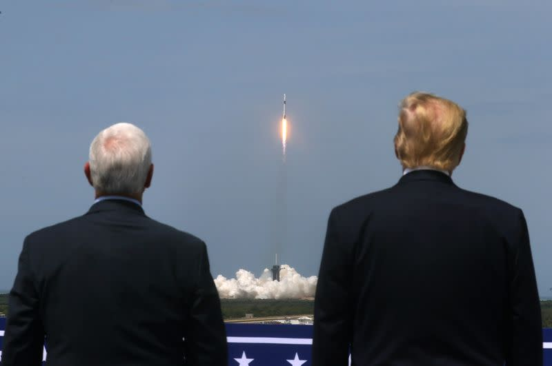 U.S. President Donald Trump and U.S. Vice President Mike Pence attend the launch of a SpaceX Falcon 9 rocket and Crew Dragon spacecraft, from Cape Canaveral