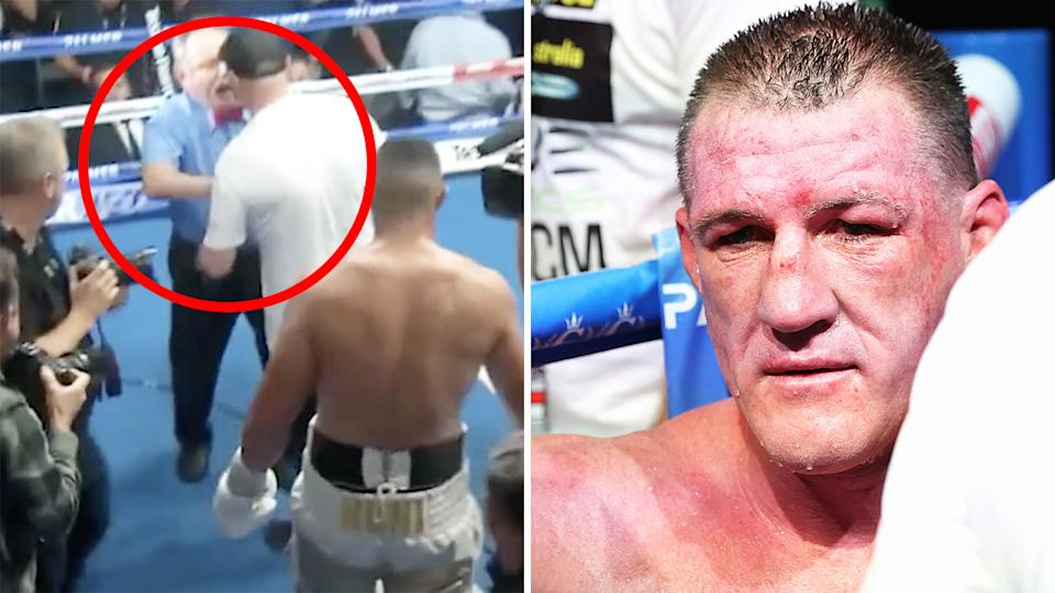 A heated exchange between referee John Cauchi and one of Paul Gallen's advisers happened in the moments after the bout against Justis Huni.
