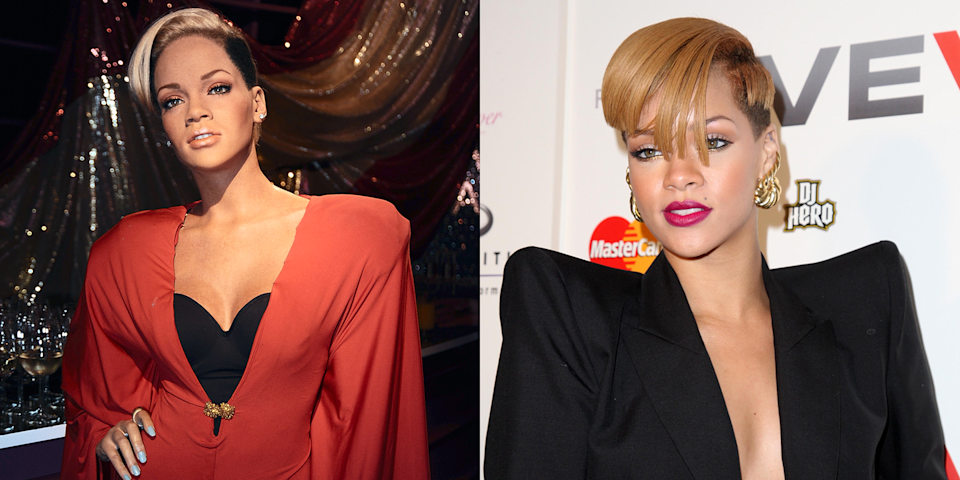 <p>Rihanna did have a similar haircut around 2009, but this wax figure looks like it was imported from the '80s and dressed in your mom's old business clothes. </p>