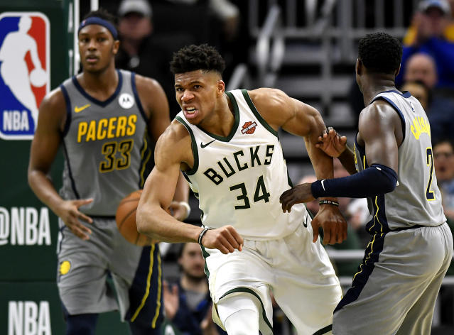 Giannis Antetokounmpo helped make history on Saturday's game between the Bucks and Pacers. (Photo by Quinn Harris/Getty Images)
