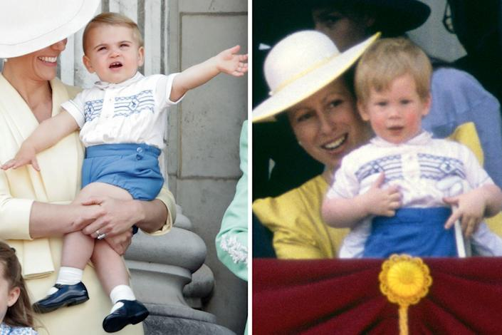 """<p>Among the most memorable royal hand-me-downs is this outfit, first worn to <a href=""""https://www.townandcountrymag.com/society/tradition/a10016954/trooping-the-colour-facts/"""" rel=""""nofollow noopener"""" target=""""_blank"""" data-ylk=""""slk:Trooping the Colour"""" class=""""link rapid-noclick-resp"""">Trooping the Colour </a>by Prince Harry in 1986, and later worn by Harry's nephew Prince Louis to the same event in 2019.<br></p>"""