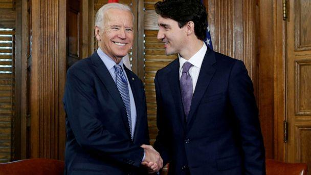 PHOTO: Canada's Prime Minister Justin Trudeau shakes hands with Vice President Joe Biden during a meeting in Trudeau's office on Parliament Hill in Ottawa, Ontario, Canada, Dec. 9, 2016. (Chris Wattie/Reuters, FILE)