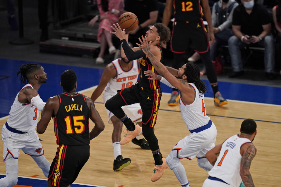 Trae Young capped a stellar NBA playoff debut with a winner against the Knicks. (Seth Wenig - Pool/Getty Images)