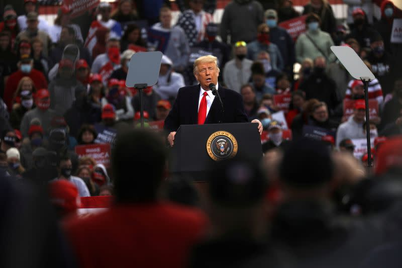 FILE PHOTO: U.S. President Donald Trump holds a campaign rally in Londonderry