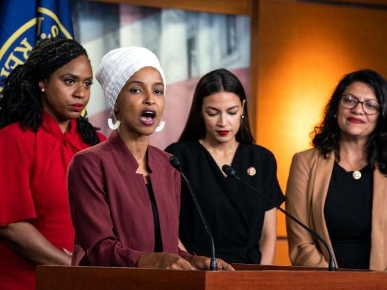 Trump tweeted telling the four BAME Democrat congresswomen, colloquially known as 'the squad', to 'go back to where they came from' (EPA)