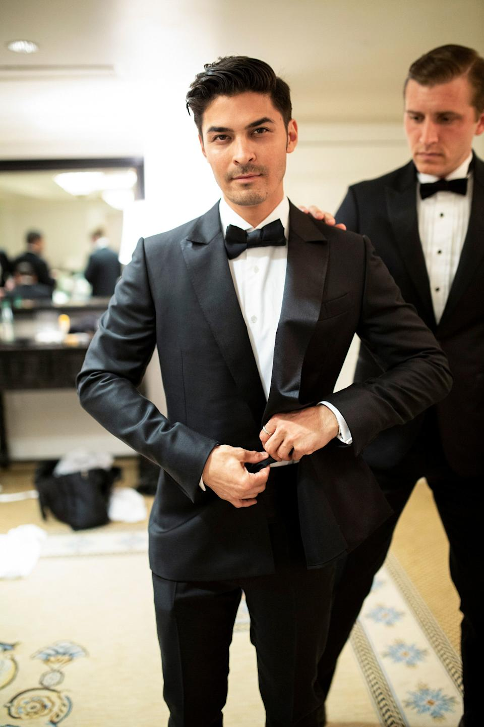 Ian in Zegna Couture Tuexdo with best man Nathan Mitchell.