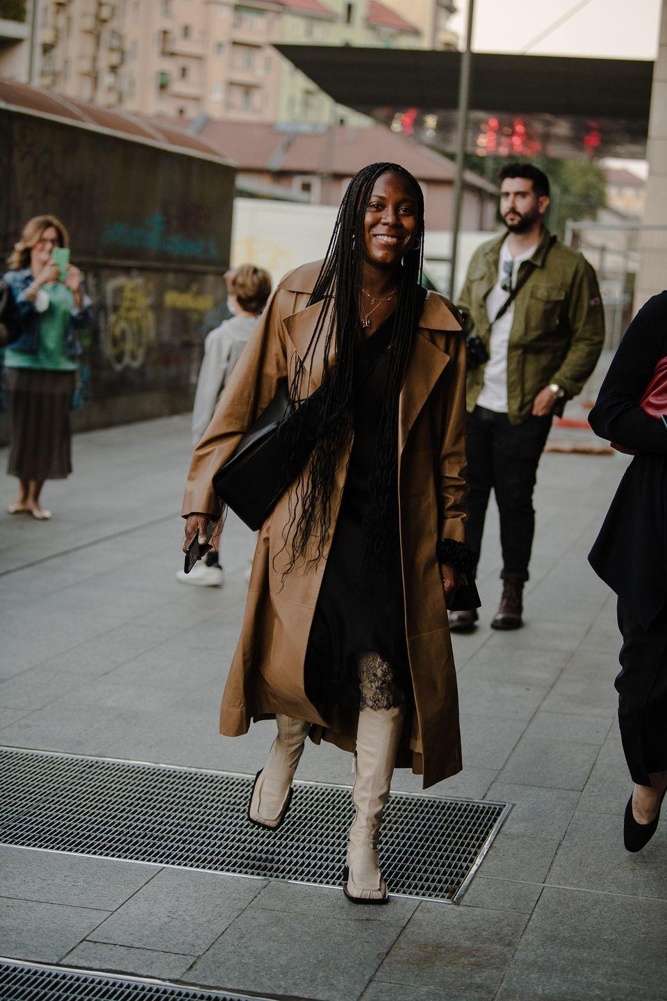 <p>A square toe boot elevates an already great coat look.</p>