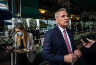 House Minority Leader Kevin McCarthy, R-Calif., speaks to a reporter outside a diner on Monday, May 4, 2021, in Marietta, Ga. McCarthy and other Republicans decried Major League Baseball's decision to move the All-Star game out of Georgia amid concerns about changes to the state's voting laws. (AP Photo/Ron Harris)