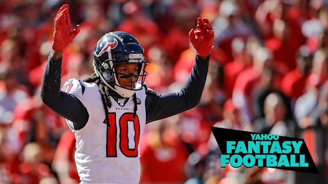 """Former <a class=""""link rapid-noclick-resp"""" href=""""/nfl/teams/houston/"""" data-ylk=""""slk:Houston Texans"""">Houston Texans</a> WR DeAndre Hopkins is arguably the most impactful fantasy player to change teams this offseason, where does he rank in our experts 2020 rankings now that he's a member of the <a class=""""link rapid-noclick-resp"""" href=""""/nfl/teams/arizona/"""" data-ylk=""""slk:Arizona Cardinals"""">Arizona Cardinals</a>? Liz Loza & Matt Harmon discuss on the latest Yahoo Fantasy Football Podcast. (Photo by David Eulitt/Getty Images)"""