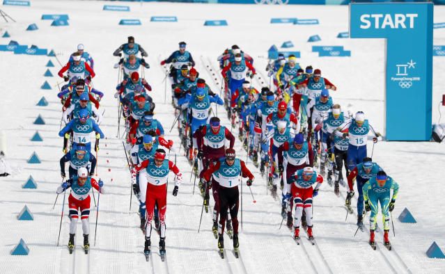 <p>Competitors start the men's 50k cross-country skiing race at the 2018 Winter Olympics in Pyeongchang, South Korea, Saturday, Feb. 24, 2018. (AP Photo/Matthias Schrader) </p>