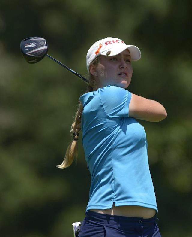 Charley Hull of England watches the flight of her tee shot from the seventh tee box during the second round of the Airbus LPGA Classic golf tournament at Magnolia Grove on Friday, May 23, 2014, in Mobile, Ala. (AP Photo/G.M. Andrews)