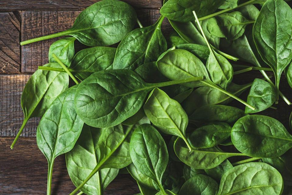"""<p><a href=""""https://www.goodhousekeeping.com/health/diet-nutrition/a19500845/spinach-nutrition/"""" rel=""""nofollow noopener"""" target=""""_blank"""" data-ylk=""""slk:Spinach"""" class=""""link rapid-noclick-resp"""">Spinach</a> has tons of <a href=""""https://www.ncbi.nlm.nih.gov/pmc/articles/PMC6162863/"""" rel=""""nofollow noopener"""" target=""""_blank"""" data-ylk=""""slk:vitamin A"""" class=""""link rapid-noclick-resp"""">vitamin A</a> (over half of the recommended daily amount in a serving!), which helps boost and enhance our immune system — so make like Popeye and add this leafy green to your diet on the regular. </p><p><strong>RELATED: </strong><a href=""""https://www.goodhousekeeping.com/food-recipes/g29591129/easy-spinach-recipes/"""" rel=""""nofollow noopener"""" target=""""_blank"""" data-ylk=""""slk:32 Delicious Easy Spinach Recipes"""" class=""""link rapid-noclick-resp"""">32 Delicious Easy Spinach Recipes</a></p>"""