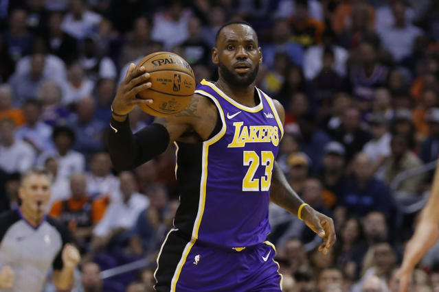 After leading the Lakers to a dominant win over Golden State on Wednesday night, James couldn't help but recall the 2015 Finals when things were flipped. (AP/Rick Scuteri)