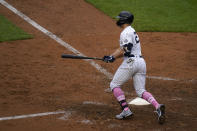 New York Yankees' Giancarlo Stanton looks after his walkoff single during the ninth inning of a baseball game against the Washington Nationals at Yankee Stadium, Sunday, May 9, 2021, in New York. (AP Photo/Seth Wenig)