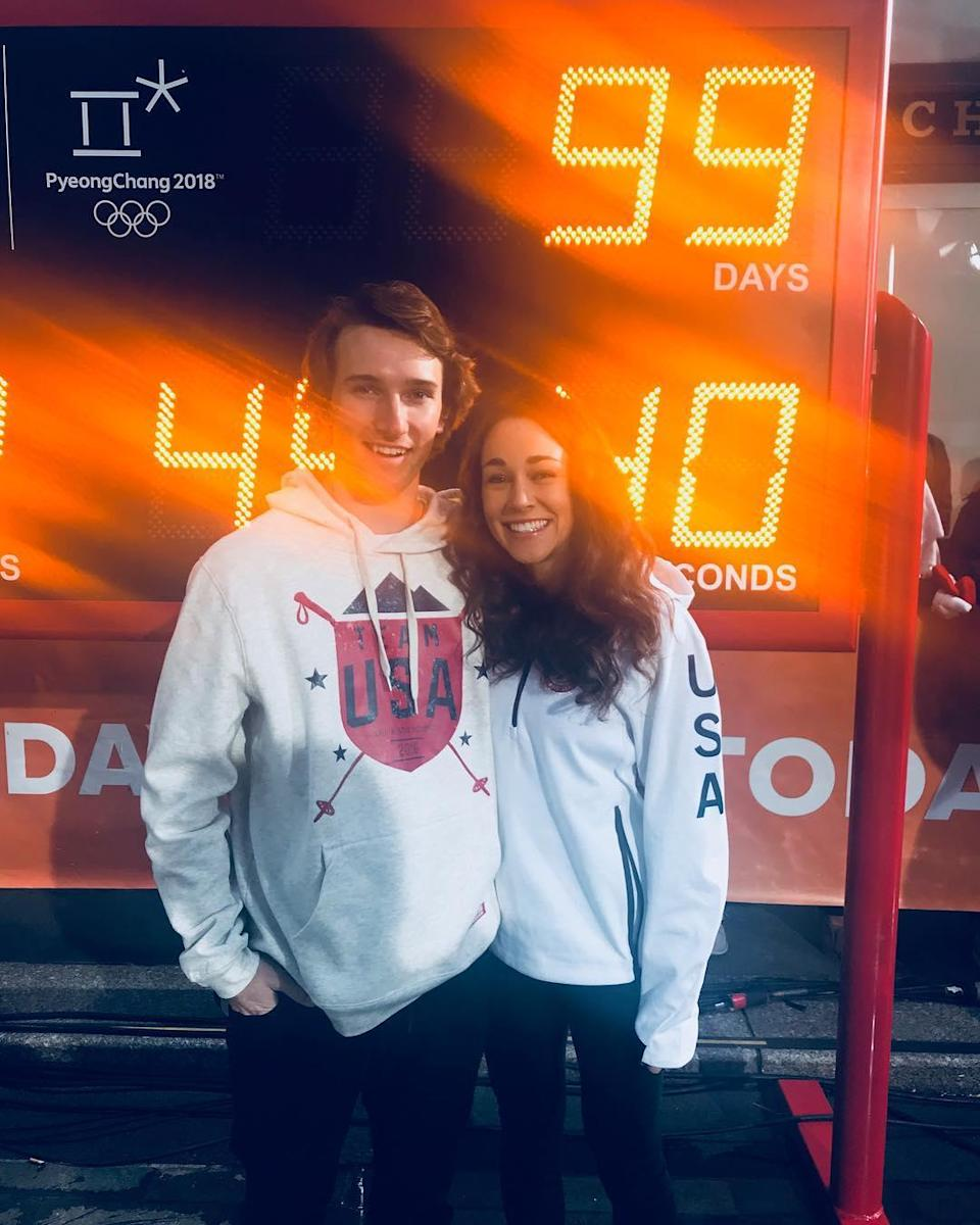<p>Ski jumper Sarah Hendrickson and freestyle skier Torin Yater Wallace met while injured. The couple are both representing Team USA at the PyeongChang Games.<br> (Photo via Instagram/schendrickson) </p>