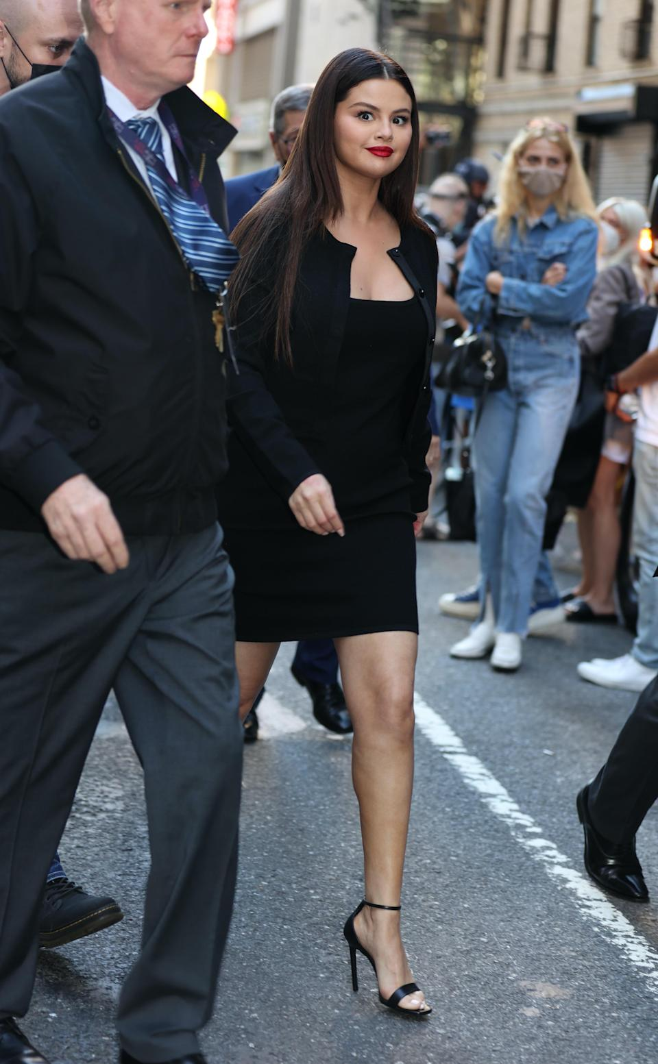 """Selena Gomez arrives at """"The Late Show with Stephen Colbert"""" in New York City. - Credit: Jose Perez / SplashNews.com"""