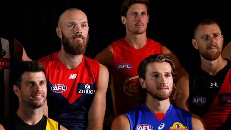 Max Gawn, pictured here during the 2020 AFL Captains Day at Marvel Stadium.